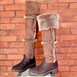 TORY BURCH Rare Shearling Suede Over the Knee Tall Winter Boots Near-New Size 6